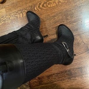 Christian Dior Black Logo Leather Tall Boots 37